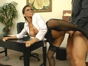 Devon Michaels wearing sexy black stockings getting fucked in the office