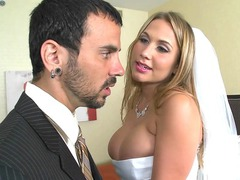 Alanah Rae wearing tight wedding dress looking for a guy to fuck